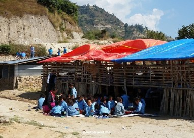 Temporary school after the quake